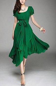 Women's Round Puff Sleeve Aysm Hem Chiffon Midi Dress in Green via Light in the Box.
