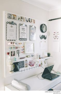 Pretty pegboard for a small home office space