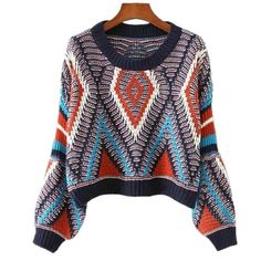 2017 Women Cropped Sweater O-neck Lantern Sleeves Knitted Pullovers Boho Aztec Jumper pull femme hiver Plus Size Sweaters, Casual Sweaters, Long Sweaters, Cardigans, Cropped Sweater, Long Sleeve Sweater, Loose Sweater, Pull Court, Scrappy Quilts
