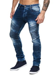 F&S men slim fit denim power biker jeans - washed blue denim pants, his Biker Jeans, Men's Jeans, Denim Pants, Patched Denim, Mens Flannel Shirt, Mens Fashion Suits, S Man, Swagg, Look Fashion
