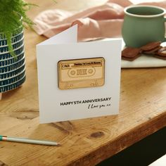 Personalised Anniversary Cassette Card