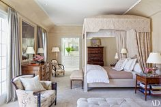 In the master bedroom, an Old World Weavers print was used for the chairs, one of which—by the door to the dressing area—was once owned by tastemaker Albert Hadley; the carpeting is by ALT for Living.