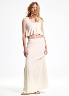 Soft + sensual. The white chenille cropped tank + long skirt from the Pre-Fall 2015 Calvin Klein Collection.