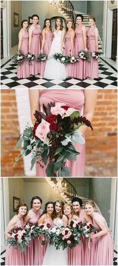 Pink bridesmaid dresses, multiway style, wedding bouquets of pink and red roses, feminine and romantic bridal party // Kelly Ginn Photography