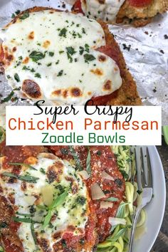 Crispy Baked Chicken Parmesan Zucchini Bowls - Incredibly Delicious Chicken That Is Super Tender On The Inside, Yet Crispy On The Outside. Served Over Cooked Zucchini Noodles To Make For A Lower-Carb, Light And Healthy Meal. Low Carb Chicken Recipes, Low Carb Recipes, Cooking Recipes, Healthy Recipes, Top Recipes, Bariatric Recipes, Pasta Recipes, Chicken With Italian Seasoning, Chicken