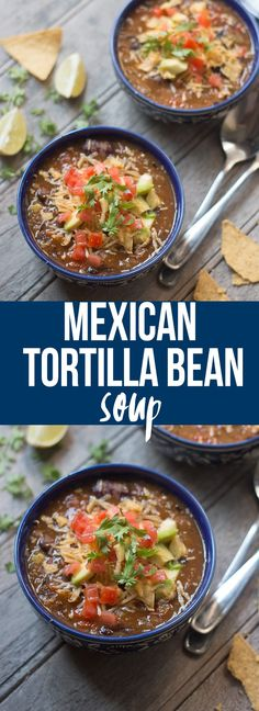 Comforting Mexican Style Tortilla Bean Soup Recipe. Comforting Mexican Style Tortilla Bean Soup is a healthy, one pot meal which is full of flavor and spice....