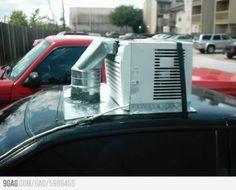 This car's air conditioner. 20 Of The Best Redneck Repair Jobs Car Repair Service, Auto Service, Car Memes, Car Humor, Driving Humor, Car Fails, Redneck Humor, Motorcycle Design, Truck Accessories