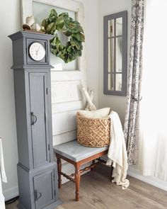 Healthy living tips for seniors home care home Grey Clocks, Diy Home, Home Decor, Farm House Colors, Interior Decorating, Interior Design, Milk Paint, Painted Furniture, Furniture Refinishing