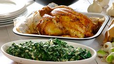 You can't beat a classic garlic & herb roast chicken served with creamy spinach – your family will be begging for more! Spinach Recipes, Meat Recipes, Chicken Recipes, Dinner Recipes, Rosemary Roasted Chicken, Roast Chicken, South African Recipes, Creamy Spinach, Food Inspiration