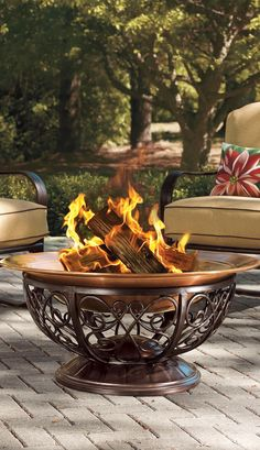 Our oversized Outdoor Copper Fire Pit is so handsome, you'll never want to hide it away.