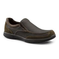 Dockers SureGrip Mens Wade Brown Slip Resistant Twin Gore Slip On Work Shoes