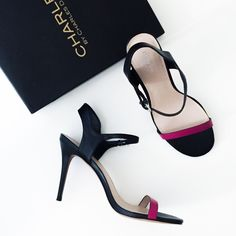 SALE $65✨Charles David Black/Magenta Heel A simple shoe. Great with your black, blue and red. Adjustable ankle strap. Comes with box. All Photos are my own.   • BECAUSE OF LIGHTING, PLEASE BE AWARE THAT COLOR OF THE ACTUAL ITEM MAY SLIGHTLY VARY FROM THE PHOTOS • MAKE ALL OFFERS USING THE OFFER BUTTON  • NO TRADES Charles David Shoes Heels