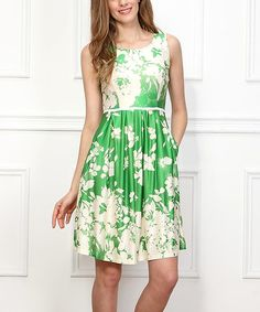 Love this Green Stark Meadow Sleeveless Fit & Flare Dress by Reborn Collection on #zulily! #zulilyfinds