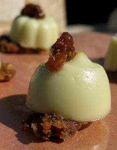 Paramount Panna-Cado jello shot- Absolut Vanilla vodka, organic heavy cream, one small Hass avocado, and sugar, topped with Courvoisier-soaked mission fig puree, served on brown sugar and almond brittle