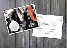 INSTANT DOWNLOAD : Christmas Cheer Postcard, Christmas Postcards, Holiday Postcards, 2013, PSD Templates