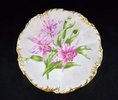 Elite Limoges China Cabinet Plate - Full Lily Floral, Gold Trim, Hand Painted