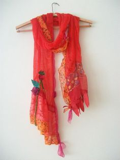 Red scarf ,authentic, design, produced one stylish accessory, lace scarf, women's fashion, stunning red, sexy, orange, pomegranate flower