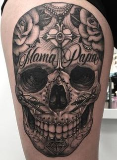 Skull Tattoos - See the newest tattoo designs Mexican Skull Tattoos, Skull Sleeve Tattoos, Sugar Skull Tattoos, Sugar Tattoo, Skull Candy Tattoo, Mexican Skulls, Life Tattoos, New Tattoos, Body Art Tattoos