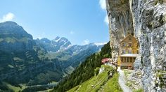 Berggasthaus Aescher, Swiss Alps, Switzerland Hosts Beny and Claudia Knechtle are ready to welcome you and whomever you are traveling with at Berggasthaus Aescher, located in the beautiful Swiss Alps. Dream Vacations, Vacation Spots, Vacation Destinations, Oh The Places You'll Go, Places To Travel, Places To Visit, Swiss Alps, Belle Photo, Wonders Of The World