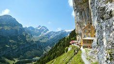 Ideal Climber Houses #12: Aescher-Wildkirchli on Säntis (that's the name of the mountain), Switzerland