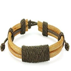 "Brown Leather Bracelet with Long Shocker Tie Knots Wristband Cuff K17 blue palm jewerly. $11.99. leather bracelet. Sliding Tie-Knot Closure. 0.43"" width. 7.48"" to 9.84"" length"