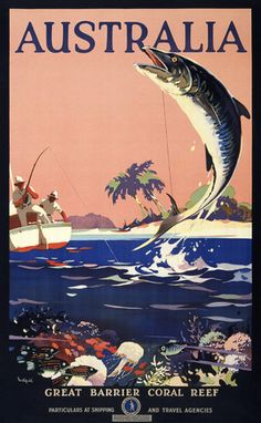 Australia: Great Barrier Coral Reef. Australian National Travel Association. Particulars at shipping and travel agencies. Circa 1930s. Vintage Australian travel poster.