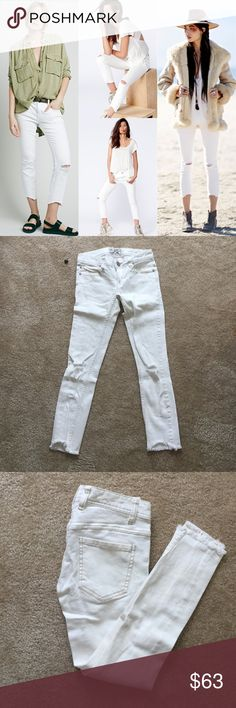 Free people destroyed ankle jeans 25 Only worn once,❌NO TRADE‼️ Free People Jeans Ankle & Cropped