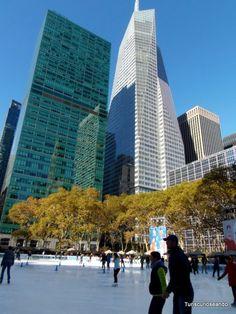 TURISCURIOSA EN USA: NEW YORK, NEW YORK. Pista de hielo en Bryant Park.