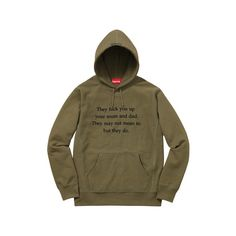 Supreme They Fuck You Up Hooded Sweatshirt ($148) ❤ liked on Polyvore featuring tops, hoodies, brown tops, sweatshirt hoodies, brown hoodies, hooded pullover and brown hooded sweatshirt