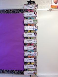 Love this example of class schedule - use velcro to attach cards to heavy ribbon instead of pocket chart.