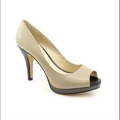 "Peep Toe Heels Phmps Multi colored peep toe heels by Nine West size 7 with heel at 3.5"" and 0.5"" platform style # NWDNEE Nine West Shoes Heels"