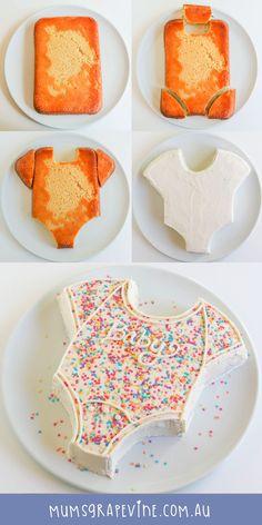 Sweet and simple onesie baby shower cake!  #babyshowerideas #babyshowercake #babyshowerinspiration #duesoon #baby #cake #cakeideas