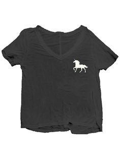 4th & Rose Unicorn Pocket V-Neck