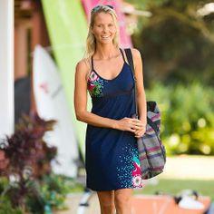Printed Shorebreak Dress - Sleek, breathable swim fabric turns this empire-waist dress into a water-loving companion.