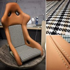 Car-bone bucket seat brown leather Custom Car Interior, Car Interior Design, Racing Seats, Sport Seats, Vw Vintage, Vintage Racing, Vintage Style, Tartan, Porsche 964