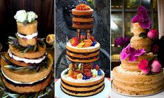 wedding cakes nakedcake Introducing the naked cake: New wedding dessert trend for unfrosted edges exposes the delicious flavors inside Themed Wedding Cakes, Wedding Desserts, Zucchini Cake, Salty Cake, Savoury Cake, Mini Cakes, Cake Art, Clean Eating Snacks, Cake Decorating