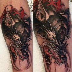 Jackal Tattoo Wolf, Sick Tattoo, Head Tattoos, Body Art Tattoos, Tattoo Arm Designs, Insect Tattoo, Tattoo Project, Neo Traditional Tattoo, Anubis