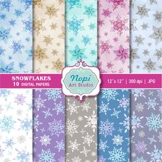 Winter Snowflake Digital Paper, Snowflakes Scrapbook Paper, Christmas Background, Printable Winter Paper Watercolor Snowflakes Digital Paper