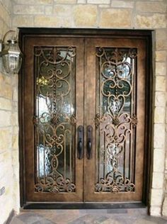 Main Entrance Door Entryway Wrought Iron Ideas For 2019 Iron Doors, Glass Door, Entrance Doors, Entry Doors, Door Entryway, Wrought Iron Gates, Wrought Iron Glass, Front Door Design, Doors