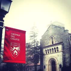 Misty morning on campus at Chestnut Hill College.