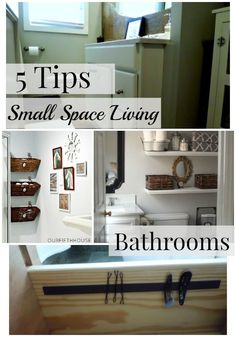 5 Tips for Small Space Living: Bathrooms. Easy and inexpensive tips and ideas for storage in a small bathroom #diy #bathroom #smallbathroom #smallspace