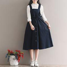 2018 Spring Summer Women Sleeveless Vintage Dress Navy Blue Cotton Linen Casual Loose Vestidos Spaghetti Strap Female Dress 2XL