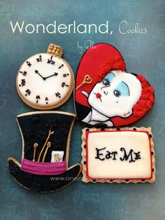 Alice in Wonderland decorated Sugar Cookies by OneCakeaDay on Etsy, $40.00