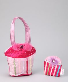 Take a look at this Pink Beaded Cupcake Purse & Coin Purse by Sparkle Adventure on #zulily today!
