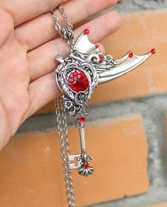 b75266e6e Fantasy key, gothic key, fantasy necklace, red swarovski key. Key JewelryBoho  JewelrySilver ...