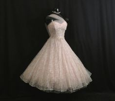 Vintage 1950's 50s Strapless Bombshell PINK Ivory by VintageVortex