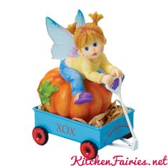 Girl Riding Cart with Pumpkin Fairie - From Series Thirty of the My Little Kitchen Fairies collection