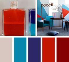 Intensa y con mucha acción, esta paleta de colores decora un ambiente juvenil y moderno.  Espacio vía: brightbazaarblog