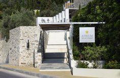 Distinctive Architecture greets you at this unparalleled resort Atrium Hotel Skiathos, Natural Stones, Sidewalk, Architecture, Beach, Nature, Design, Arquitetura, Naturaleza