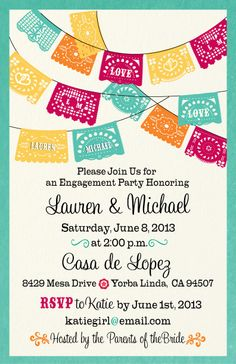 fiesta engagement party invitations - Mexican Party Invitations